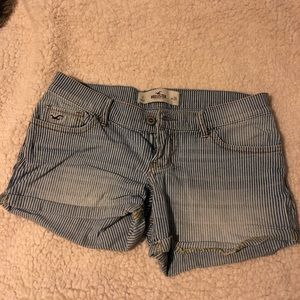 Hollister striped jean shorts
